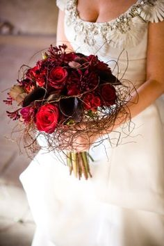 Red and romantic bouquet Love, love, love this.