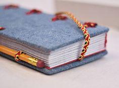 Jeans covered journal Hira Kara Fire 4x8 от BlockOfNotes2 на Etsy