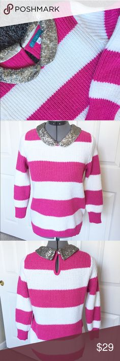 Pim + Larkin stripes & sequin sweater Size small sweater by Pim + Larkin. Beautiful pink and white stripes with a sequin collar. It's warm and fun! NWOT pim + larkin Sweaters