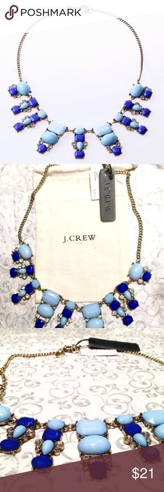 J.Crew Dangling Bib Necklace Blue White Statement! Beautiful Authentic J.Crew Dangling Shape Statement Bib Necklace.  Brand New Never Worn.   Colors of Rhinestone Crystal: Blue Necklace will arrive as seen in the picture with J.Crew pouch. J. Crew Jewelry Necklaces