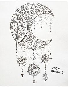 Doodle Art Drawing, Zentangle Drawings, Mandala Drawing, Cool Art Drawings, Pencil Art Drawings, Zentangle Patterns, Art Drawings Sketches, Easy Drawings, Moon Coloring Pages