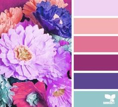 paper flowers color palette from Design Seeds Colour Schemes, Color Combos, Color Patterns, Colour Palettes, Design Seeds, World Of Color, Color Of Life, Colour Paper Flowers, Flower Colors