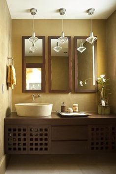 Like the 3 skinny mirrors over the counter.  Home 2 - modern - bathroom - miami - Architectural Design Consultants
