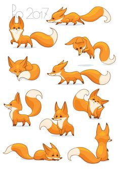 cute fox Contest Entry for Fox Illustration - New 10 poses/positions Cute Fox Drawing, Cute Animal Drawings, Animal Sketches, Kawaii Drawings, Easy Drawings, Drawing Sketches, Drawing Drawing, Drawing Tips, Fuchs Illustration