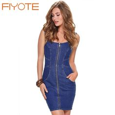 Cheap dress like a little girl, Buy Quality dresses hats directly from China dress mini Suppliers:                              Summer 2016 Denim Dress Robe Sexy Front Zipper Sleeveless Pocket Jeans Mi