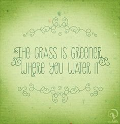 """How many times have we heard the cliche, """"The grass is always greener on the other side?"""" While the overuse of this phrase has mostly dulled its impact, people who experience the """"grass is greener… Great Quotes, Quotes To Live By, Me Quotes, Motivational Quotes, Inspirational Quotes, Uplifting Quotes, The Words, Cool Words, Nicholas Sparks Books"""
