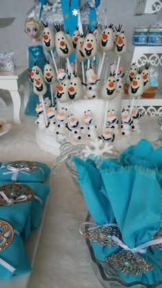 Olaf sweets at a Frozen birthday party! See more party planning ideas at CatchMyParty.com!