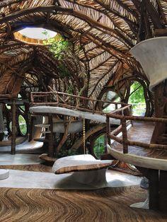 hotel building Tulum Azulik IK Lab resort g - hotel Organic Architecture, Futuristic Architecture, Beautiful Architecture, Interior Architecture, Interior And Exterior, Interior Design, Library Architecture, Bamboo Architecture, Residential Architecture