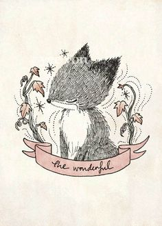 The wonderful and adorable little fox ♥ one of the print from 'Four Little Whimsies' illustration series.  Available at whimsywhimsical.etsy.com