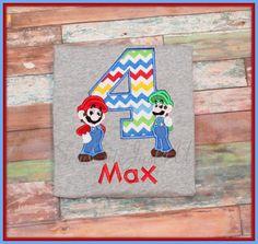 Mario and Luigi Birthday Personalized Number Shirt on Etsy, $23.00