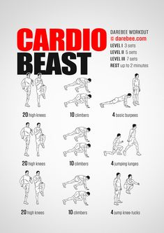Effective Cardio Workouts In Only 20 Minutes. The perfect exercise regimen is one that combines strength training and some type of cardio. The problem is, many people hate doing cardio and will compris Short Workouts, Gym Workout Tips, At Home Workout Plan, Workout Challenge, At Home Workouts, Hiit Workouts For Men, Mens Cardio Workout, Boxing Cardio Workout, Home Leg Workout Men