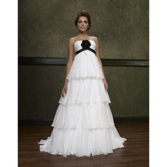 A-line Empire Strapless Tiers Flower Ribbon  Black White Bridal Gown....i love it