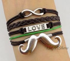 Infinity braceletlove braceletmoustache charm by IStyleIShow, $5.99