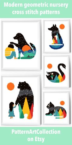 Cute, easy to stitch colorful cross stitch patterns for nursery decoration Simple Cross Stitch, Modern Cross Stitch, Cross Stitching, Cross Stitch Embroidery, Baby Cross Stitch Patterns, Sewing Courses, Cross Stitch Animals, Sewing Basics, Crochet