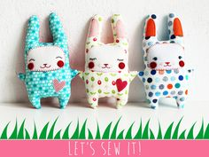 Let's Sew an Amazing Little Easter Bunny, Honey!  •  Free tutorial with pictures on how to make a bunny plushie / rabbit plushie in under 45 minutes