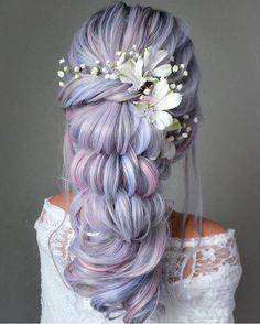 102 Beautiful Wedding Hairstyles And Bridal Hair Ideas Side Braid Hairstyles, Pretty Hairstyles, Wedding Hairstyles, Mermaid Hairstyles, Fantasy Hairstyles, Creative Hairstyles, Purple Hair, Gorgeous Hair, Hair Designs
