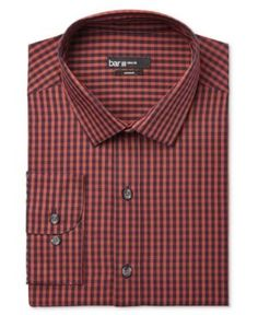 Bar Iii Men's Slim-Fit Dobby Gingham Dress Shirt, Only at Macy's - Red 15-15 1/2 32-33