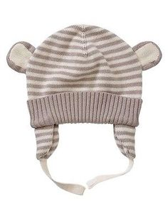 GAP Baby Boy   Girl Size 3-6 Months NWT Ivory   Tan Striped Sweater Hat  w Ears cef58ef6be39