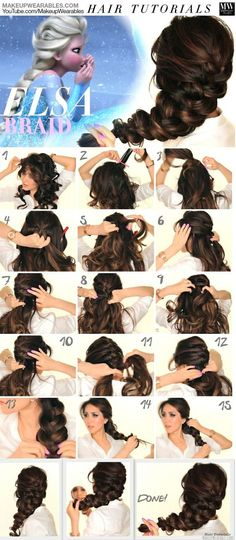 How To Get Braids As Big As Frozen Elsa Hair For the day I have amazingly long hair. you should make an attempt at an Elsa braid for the Disney show! Hairstyles Haircuts, Pretty Hairstyles, Wedding Hairstyles, Romantic Hairstyles, Frozen Hairstyles, Long Haircuts, Black Hairstyles, Disney Hairstyles, Summer Hairstyles