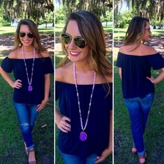 We are so in love with this off the shoulder top! Pair with boyfriend jeans for a day out!