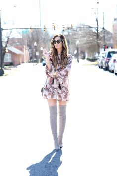 Floral Dress + Suede Accessories (For All Things Lovely)