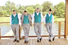 75+ ideas for a blue wedding color palette - like the grey with color vest idea... w/red maybe?