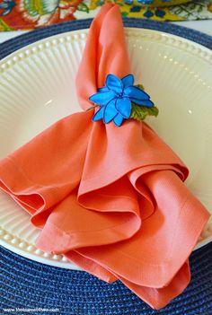 Peach napkin and blu