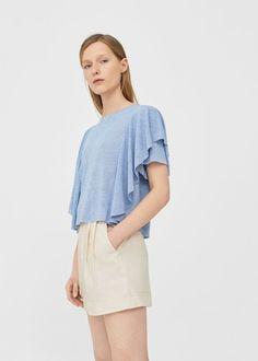 Ruffled sleeve t-shirt -  Women | MANGO USA