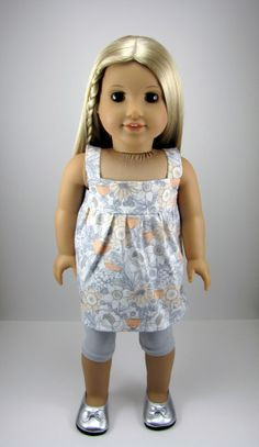 American Girl Doll Clothes - Contemporary Grey and Peach  Floral Tunic Top with Grey Leggings