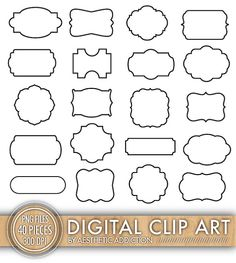 INSTANT DOWNLOAD - 40 Digital Label Frames Borders for Commercial Use - 20 White With Black Stroke - 20 Filled In Black - PNG Files - set42