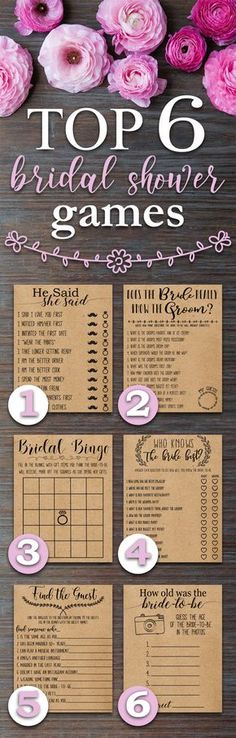 Top 6 Bridal Shower Games. Fun, Rustic, funny, bridal shower games. Perfect for a wedding shower with a country, barn, outdoors, bohemian, rustic theme.