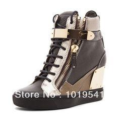 Gratis verzending 2014 blauw bruin stiksels in de metalen gesp schoenen vrouwen sneaker toegenomen