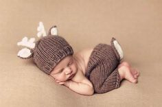 Deer Brown Baby Photography Prop Outfit Hat Cap Halloween Costume Holiday Rudolph Newborn Infant