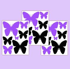 Purple Black Silhouette Butterfly Wall Decals Teen Girl Stickers