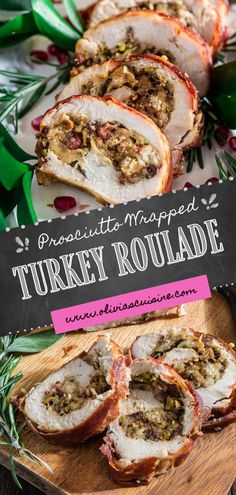 No time to roast a whole turkey? Knock the socks off your guests with this simple and quick to assemble easy turkey roulade recipe. Moist, stuffed with pancetta, pistachio and cranberries, wrapped in Prosciutto di Parma and served with a lip-smacking pomegranate port reduction sauce. One bite and the holidays will never be the same again! Perfect for both Thanksgiving and Christmas! #turkey #roulade #thanksgiving #thanksgivingturkey Turkey Recipes, Chicken Recipes, Turkey Roulade, Roulade Recipe, Whole Turkey, Cornish Hens, Thanksgiving Turkey, Pomegranate, Main Dishes