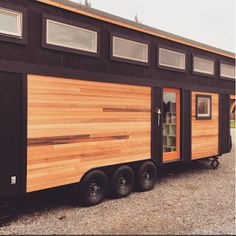 The Aurora tiny house, designed and built by Calgary-based company, ZeroSquared. The 337 sq ft home can be expanded with the push of a button!