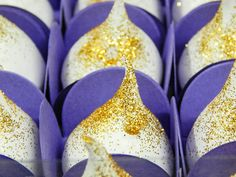 Suspiros: embalagens para suspiros gourmet da Les Bisous com purpurina dourada
