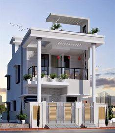 3 Storey House Design, House Front Design, Modern House Design, Apartment Interior Design, Interior Decorating, Bed Design, Design Bedroom, Building Design, Architecture Design