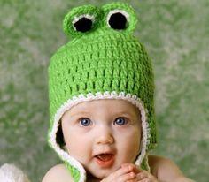 Froggy Crochet Baby Hat by Avita via DaWanda