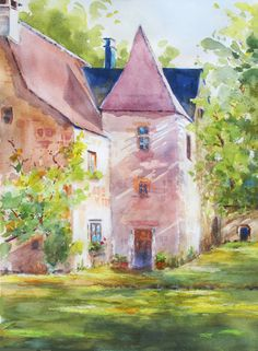 French Castle Original Watercolor Painting ART PRINT summer romance architecture France