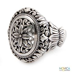 @Overstock - Floral ringSterling silver jewelryClick here for ring sizing guidehttp://www.overstock.com/Worldstock-Fair-Trade/Sterling-Silver-Precious-Lotus-Ring-Indonesia/7500053/product.html?CID=214117 $53.09