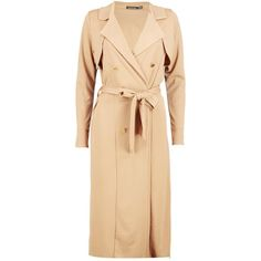 Boohoo Molly Double Breasted Midi Trench | Boohoo (46 BGN) ❤ liked on Polyvore featuring outerwear, coats, rain trench coat, beige trench coat, puffer coat, beige coat and trench coat