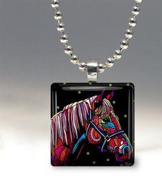 Horse Art Pendant Jewelry Necklace Folk Art by by HeatherGallerArt, $15.00