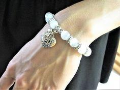 Yin Yang Bracelets Lumineux Agate Blanc Nacres perles sa et ses bracelets cadeaux