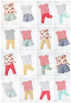 a cute and colorful girls handmade summer wardrobe