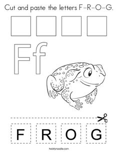 Cut and paste the letters F-R-O-G Coloring Page - Twisty Noodle Preschool Color Activities, Letter Activities, Preschool Worksheets, Zebra Coloring Pages, Cool Coloring Pages, Arts And Crafts For Kids Toddlers, Lessons For Kids, Early Learning, Kids Learning