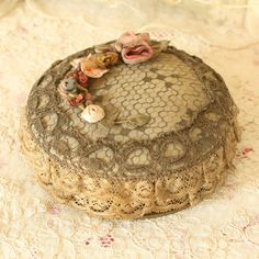 Antique 1920's Silk RIbbon Work Powder Box by TheFrenchLaundry