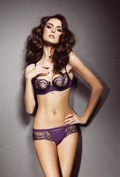 #Sexy Purple #Lingerie - Sheer Balcony Bra & Lacy Bikini Set