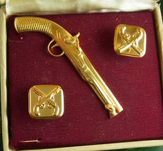 Vintage dueling pistol cufflinks antique guns by NeatstuffAntiques