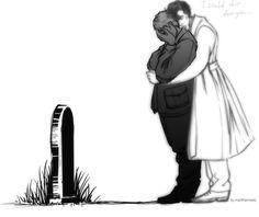 Sherlock and John at Sherlock's grave